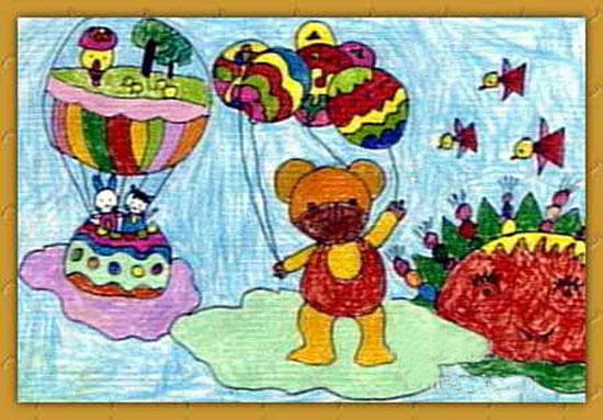 小熊放风筝图片